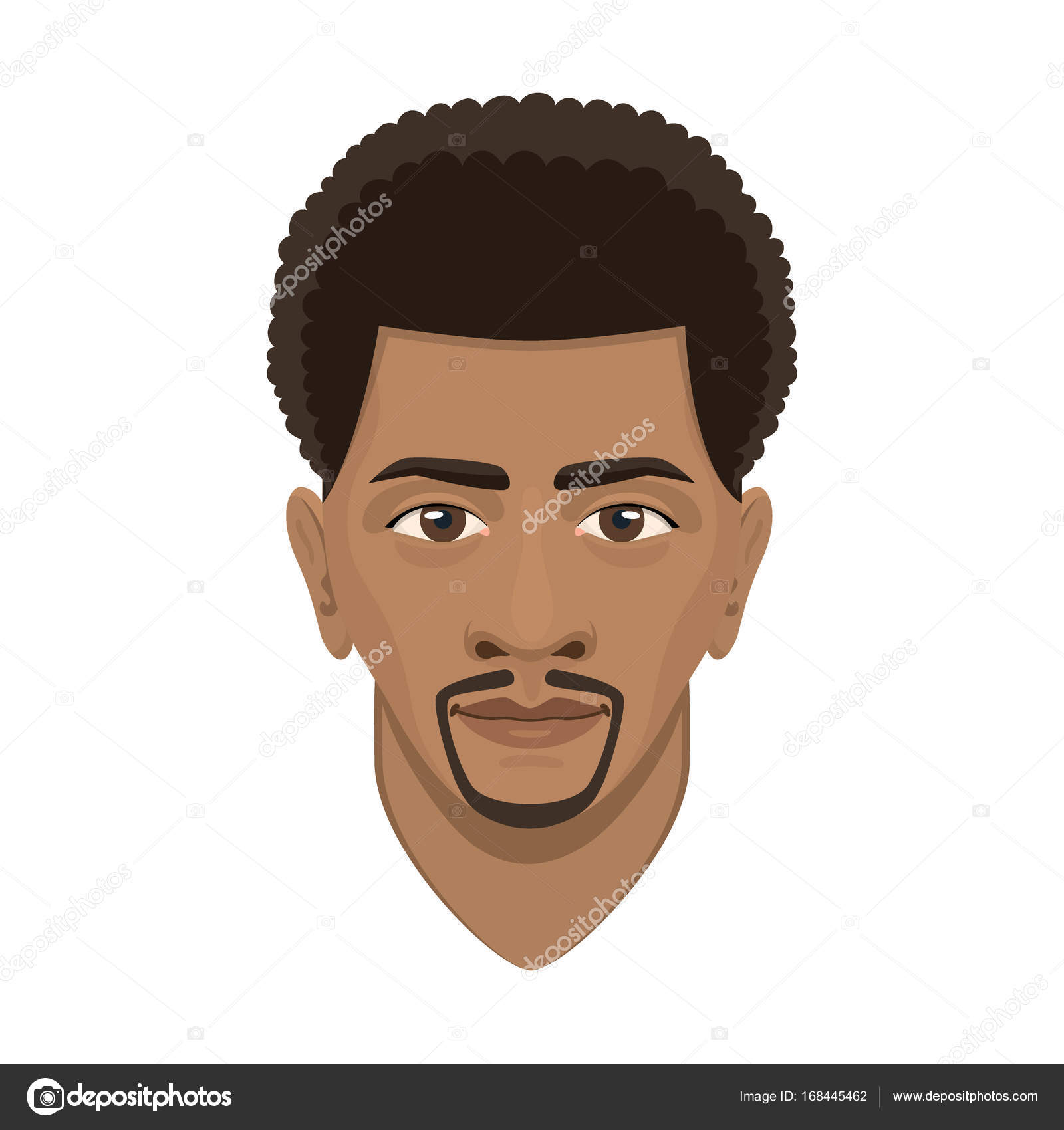 Young Afro Man Avatar Character Male Face Portrait Cartoon