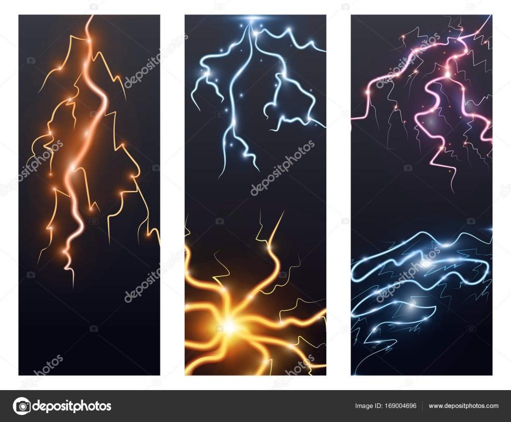 Lightning bolt storm strike flayer brochure realistic 3d light