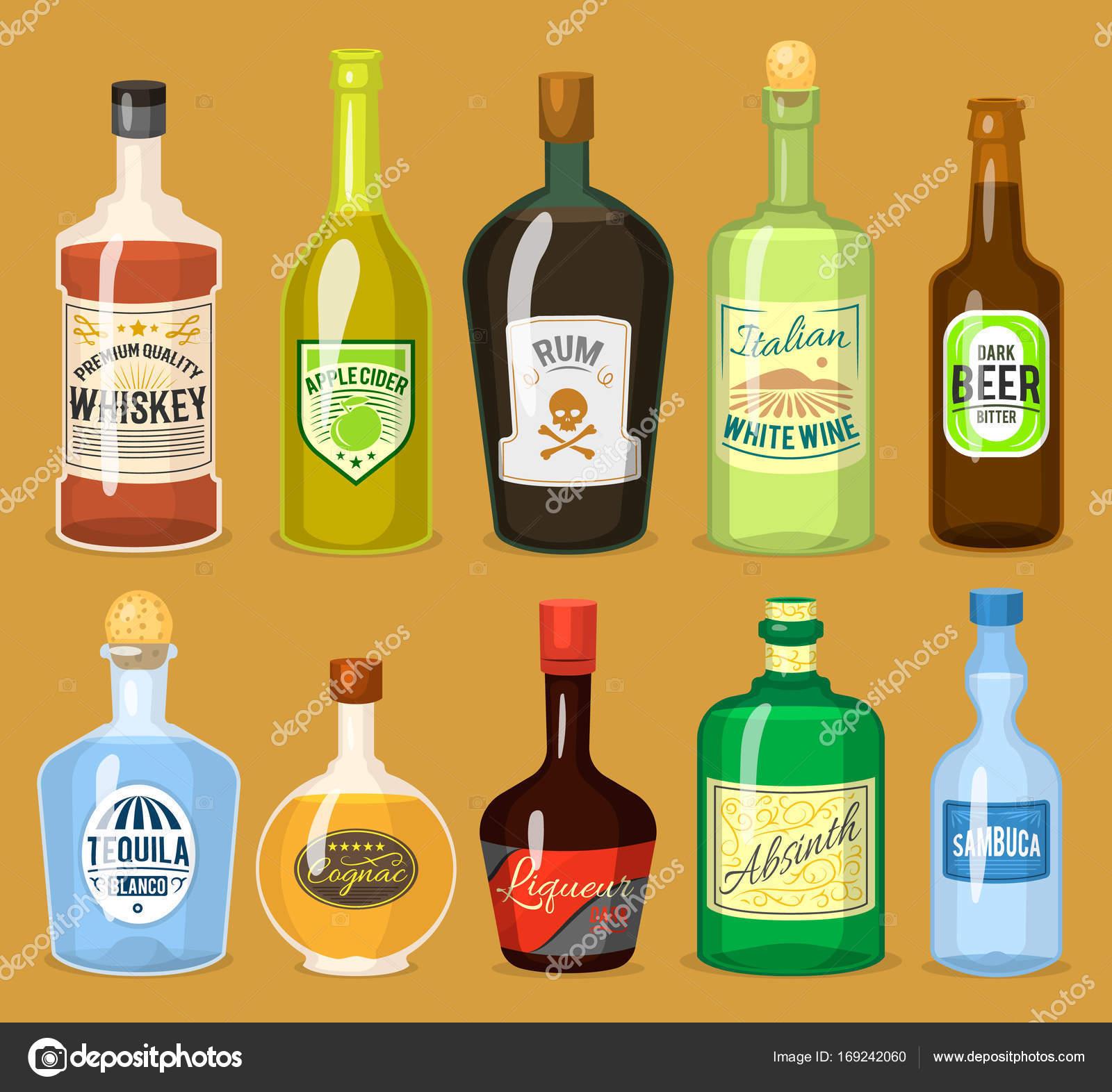 Starker Alkohol Getränke in Flaschen Cartoon Gläser Whisky, Cognac ...