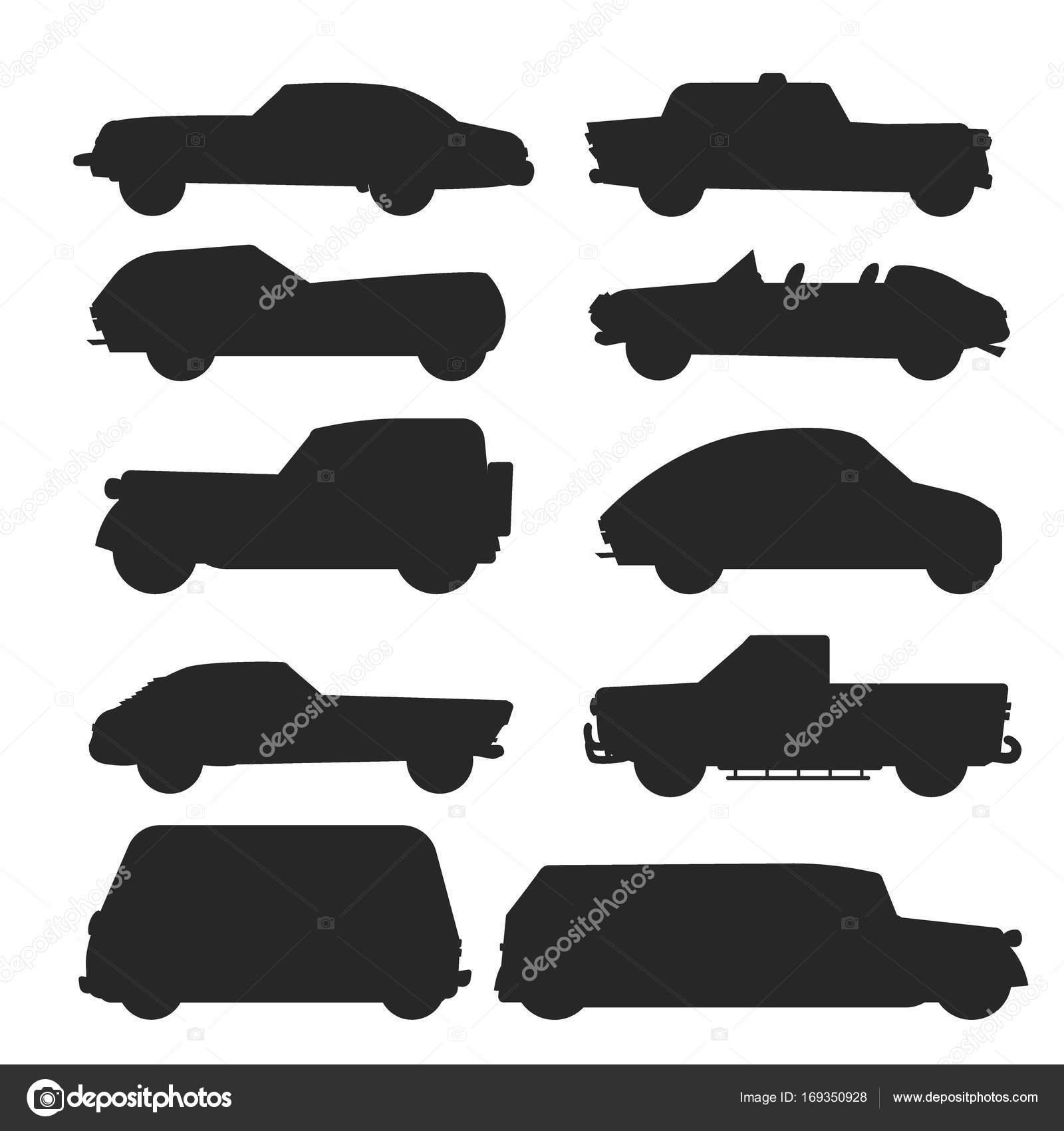 Retro vintage old style car vehicle automobile black silhouette ...
