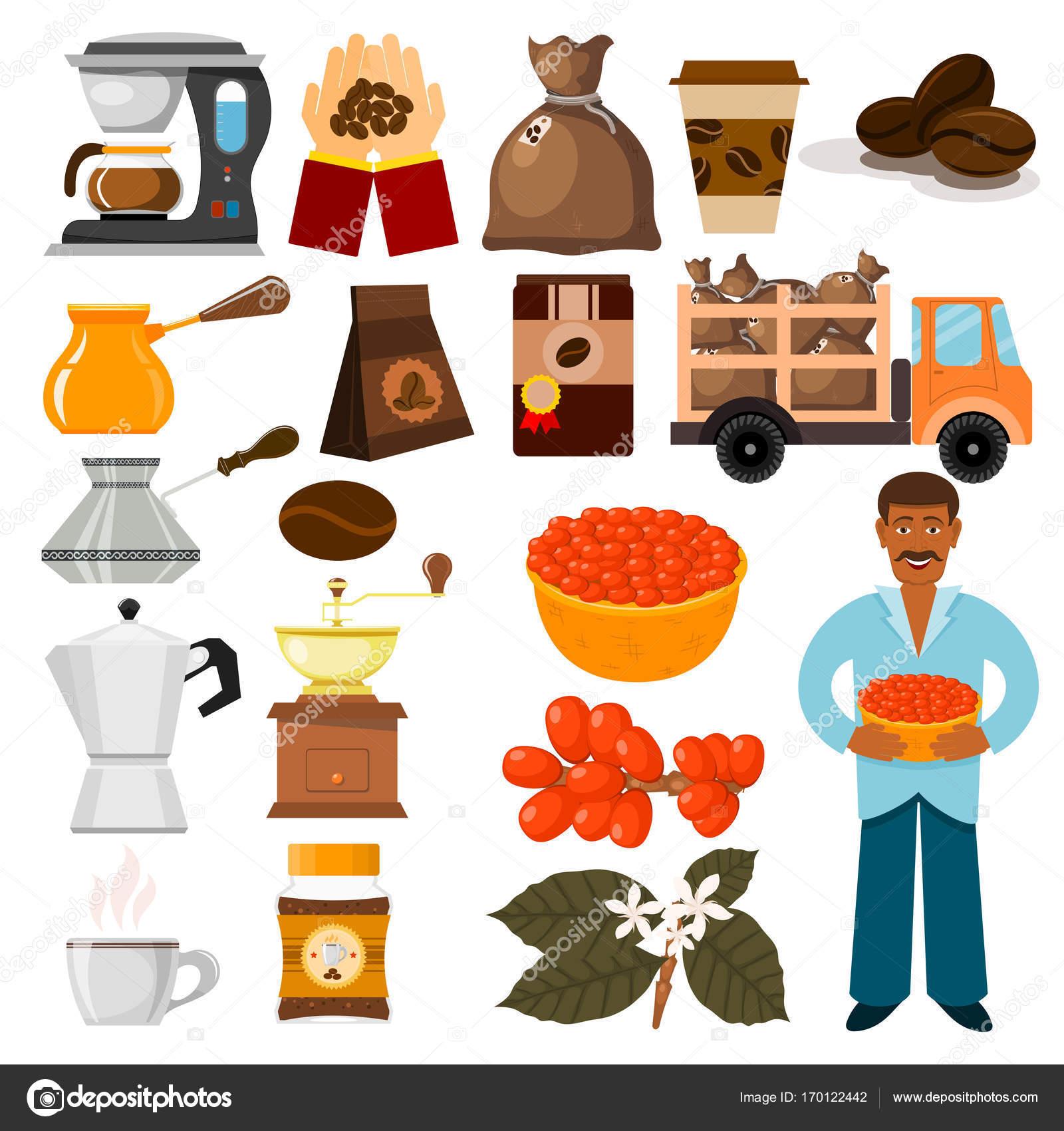 コーヒー プランテーション ベクトル豆ツリーと輸送のカフェ コーヒー