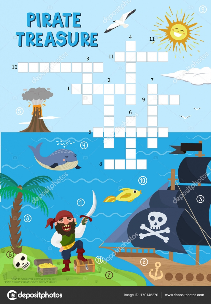 Pirate treasure adventure crossword puzzle maze education