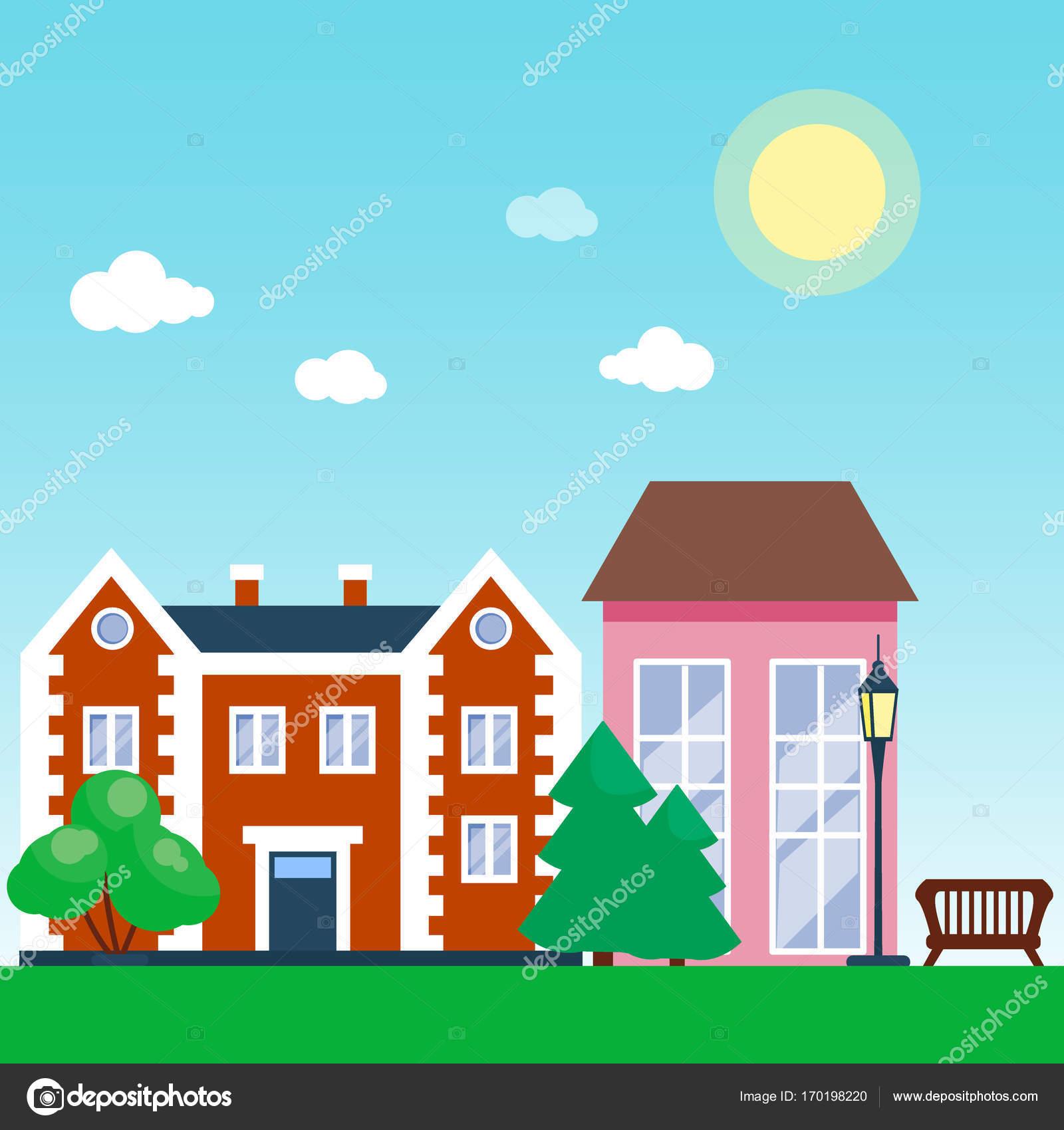 Ville de vecteur avec dessin animé maisons et bâtiments espaces de la ville avec le chemin sur le concept de fond plat style paysage urbain de lété