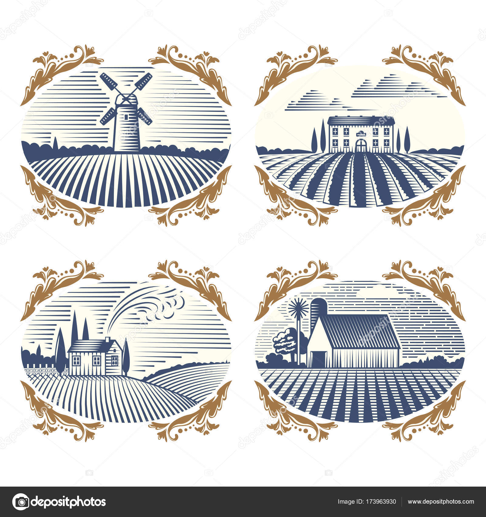 Retro landscapes vector illustration farm house agriculture graphic