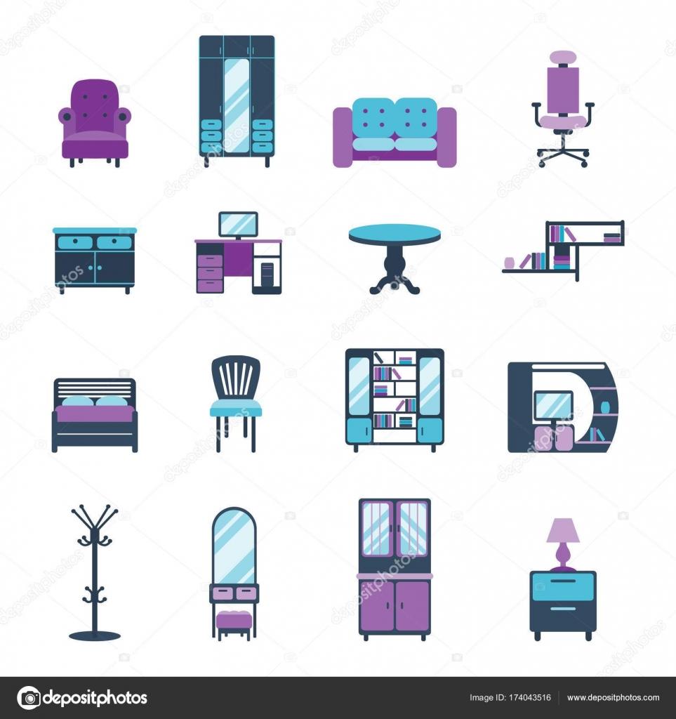 Möbel-Symbole Wohndesign moderne Wohnzimmer eingerichtet Wohnung ...