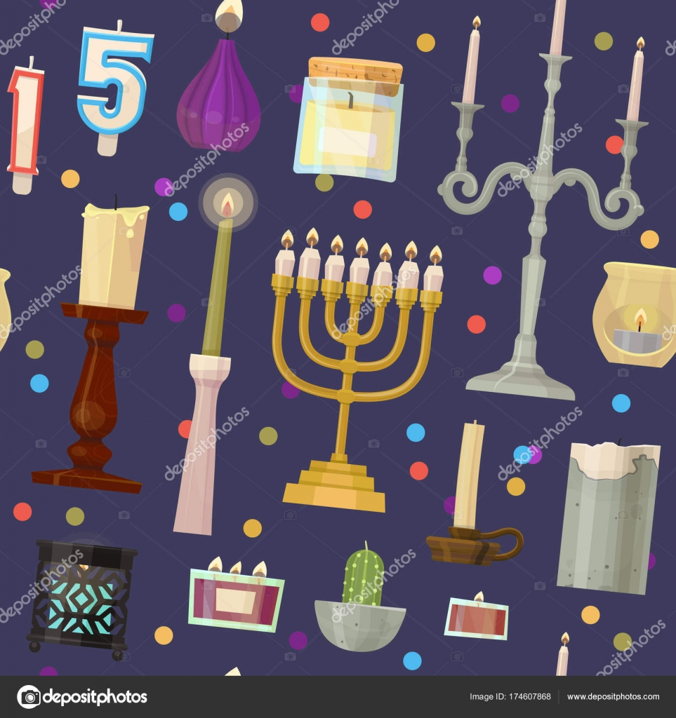 Vector hanukkah menorah candles candlelight flame decorative wax ...