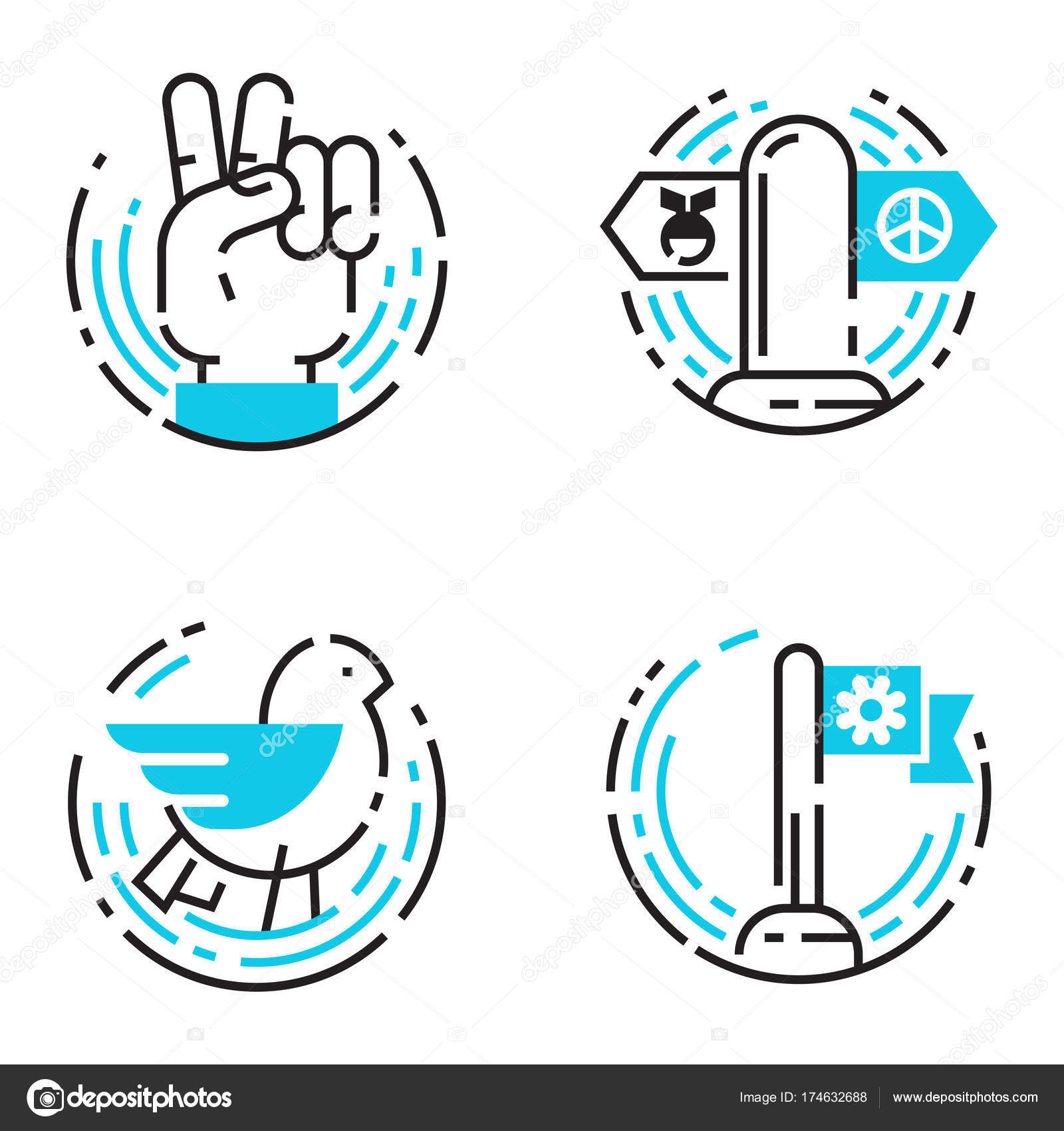 Peace Outline Blue Icons Love World Freedom International Free Care