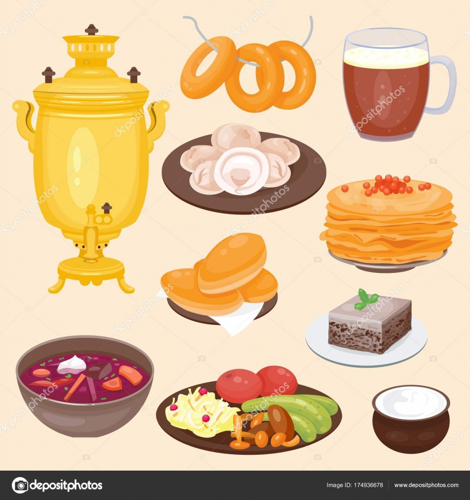Traditional Russian Cuisine Culture Dish Course Food Welcome To Russia Gourmet National Meal Vector Il Ration