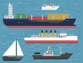 Insieme dellicona marino di crociera nave cruiser barca mare simbolo nave viaggio industria vettoriale Barche a vela