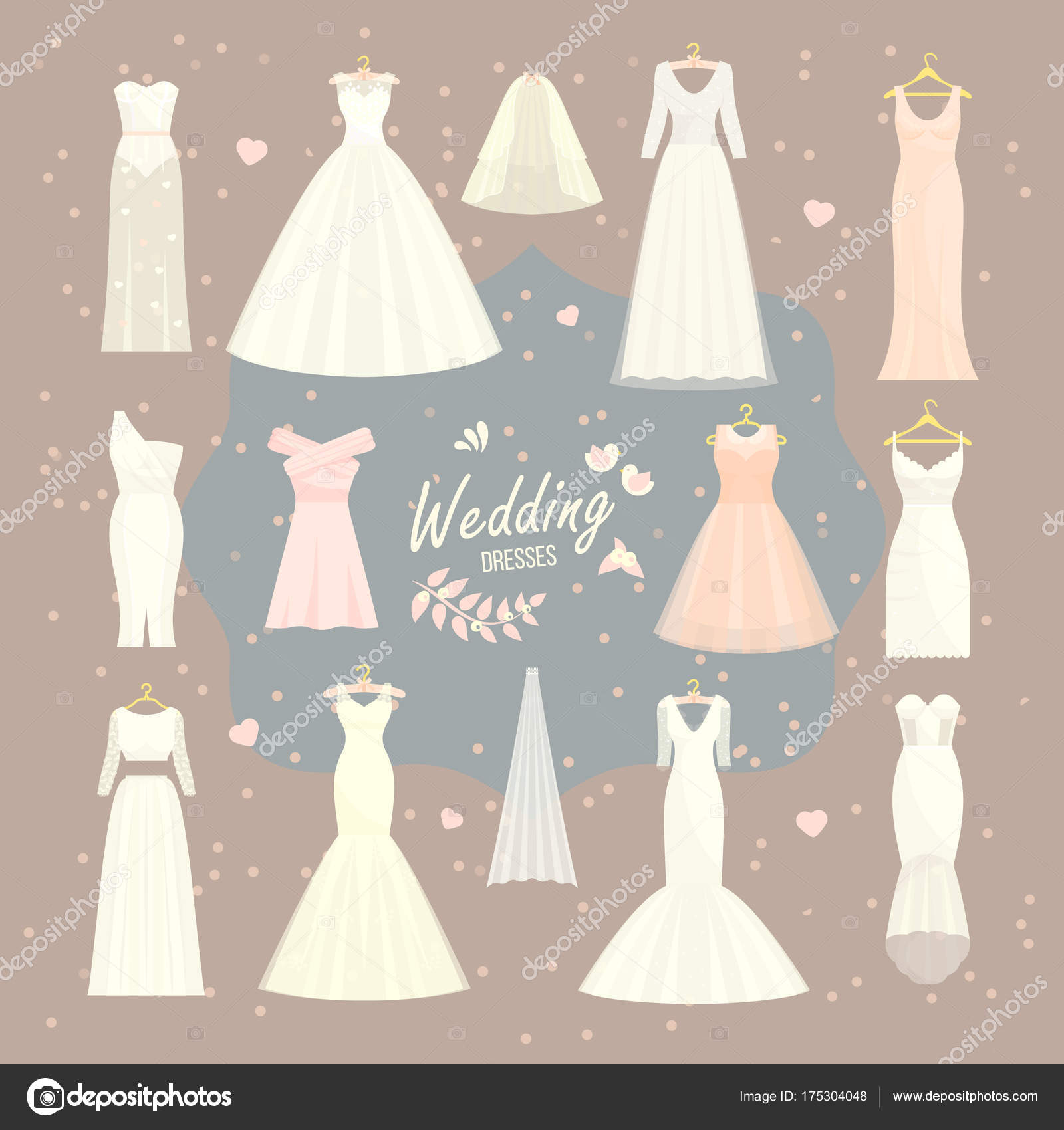 wedding dresses vector set bride and bridesmaid wear white dress accessories bridal shower celebration and marriage fashion isolated illustration