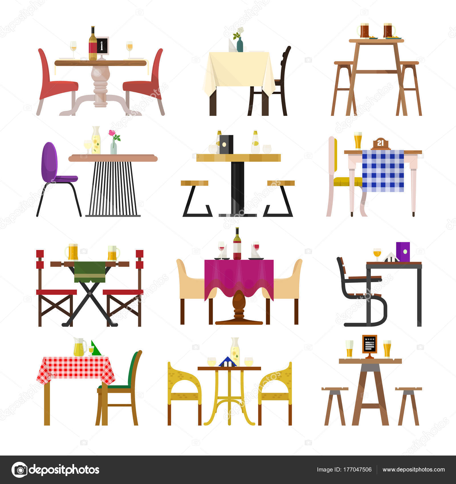 Cafe tables in restaurant setting vector dining furniture table and chair for romantic lunch dinner date  sc 1 st  Depositphotos & Cafe tables in restaurant setting vector dining furniture table and ...