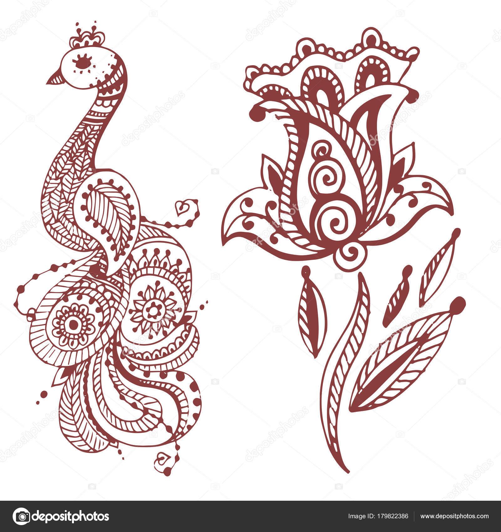 henna tattoo braun mehndi blume doodle ornamentalen dekorative indische design muster paisley. Black Bedroom Furniture Sets. Home Design Ideas