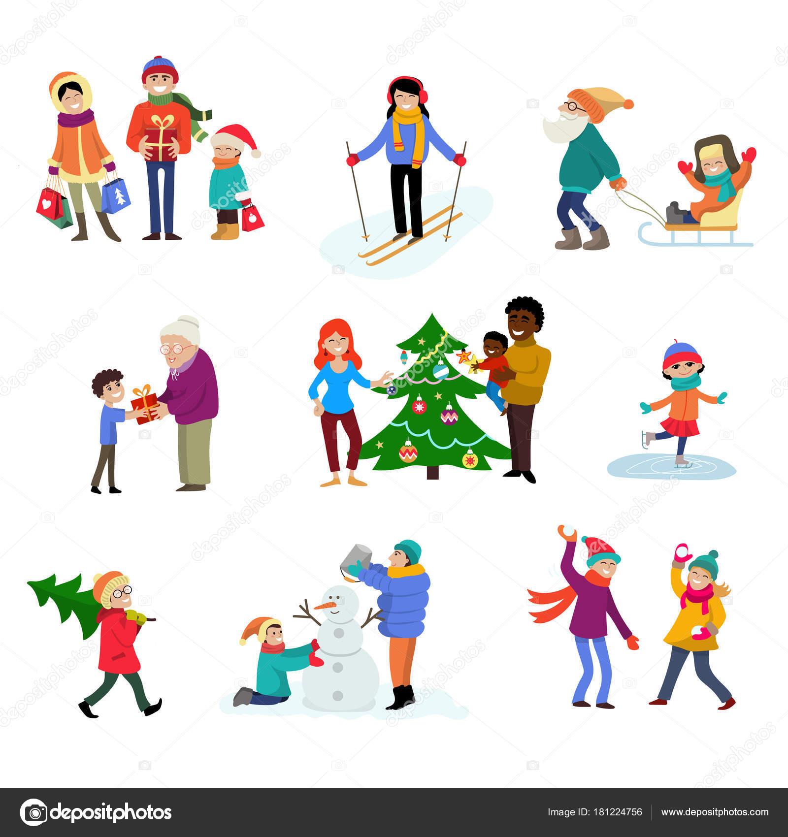 Vacaciones De Invierno Vector Dibujos Animados Familia Personajes De