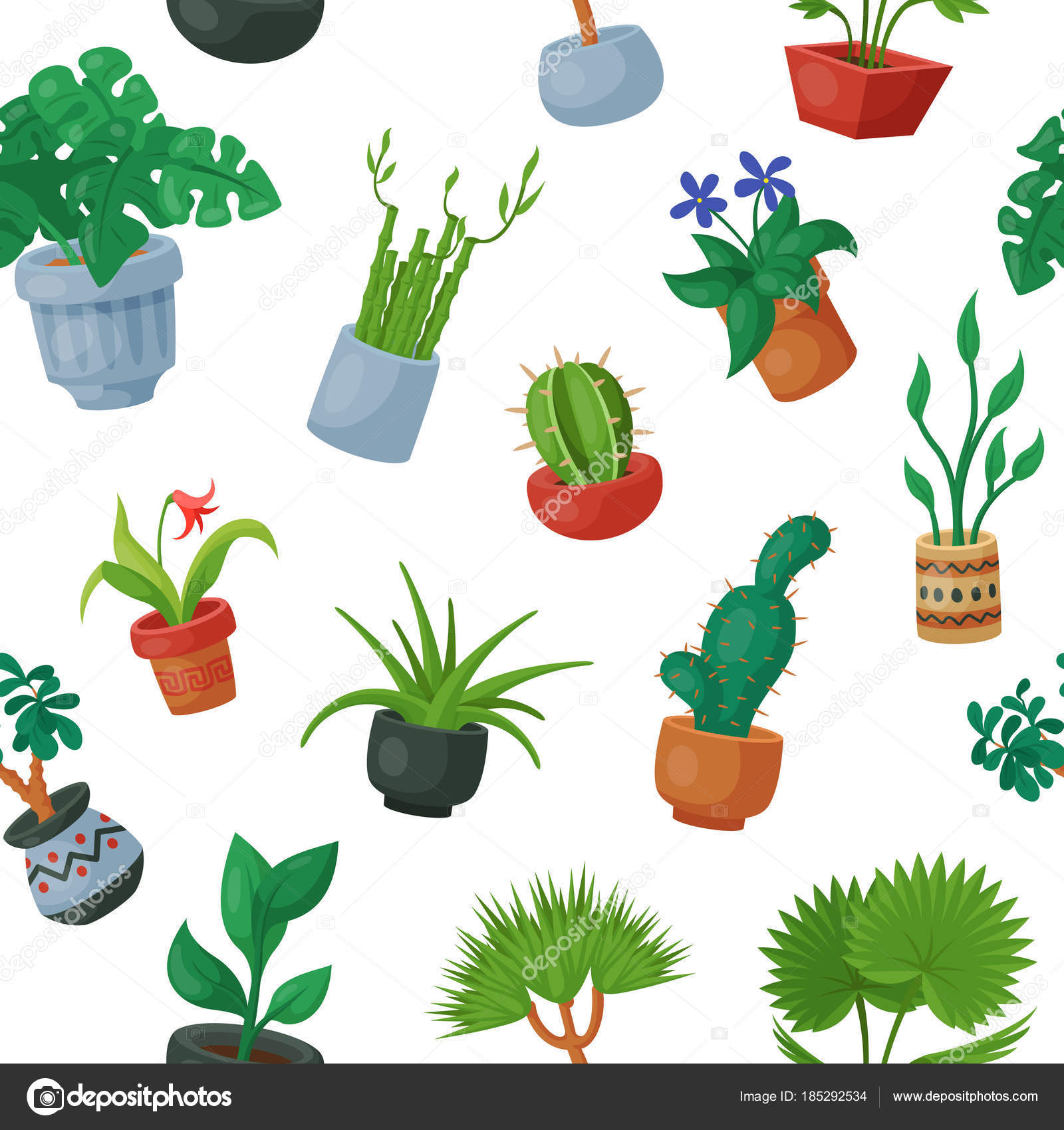 Home Plants In Flowerpots Vector Potted Flowery Houseplants For Interior  Decoration Botanic Collection Floral Cactuses In
