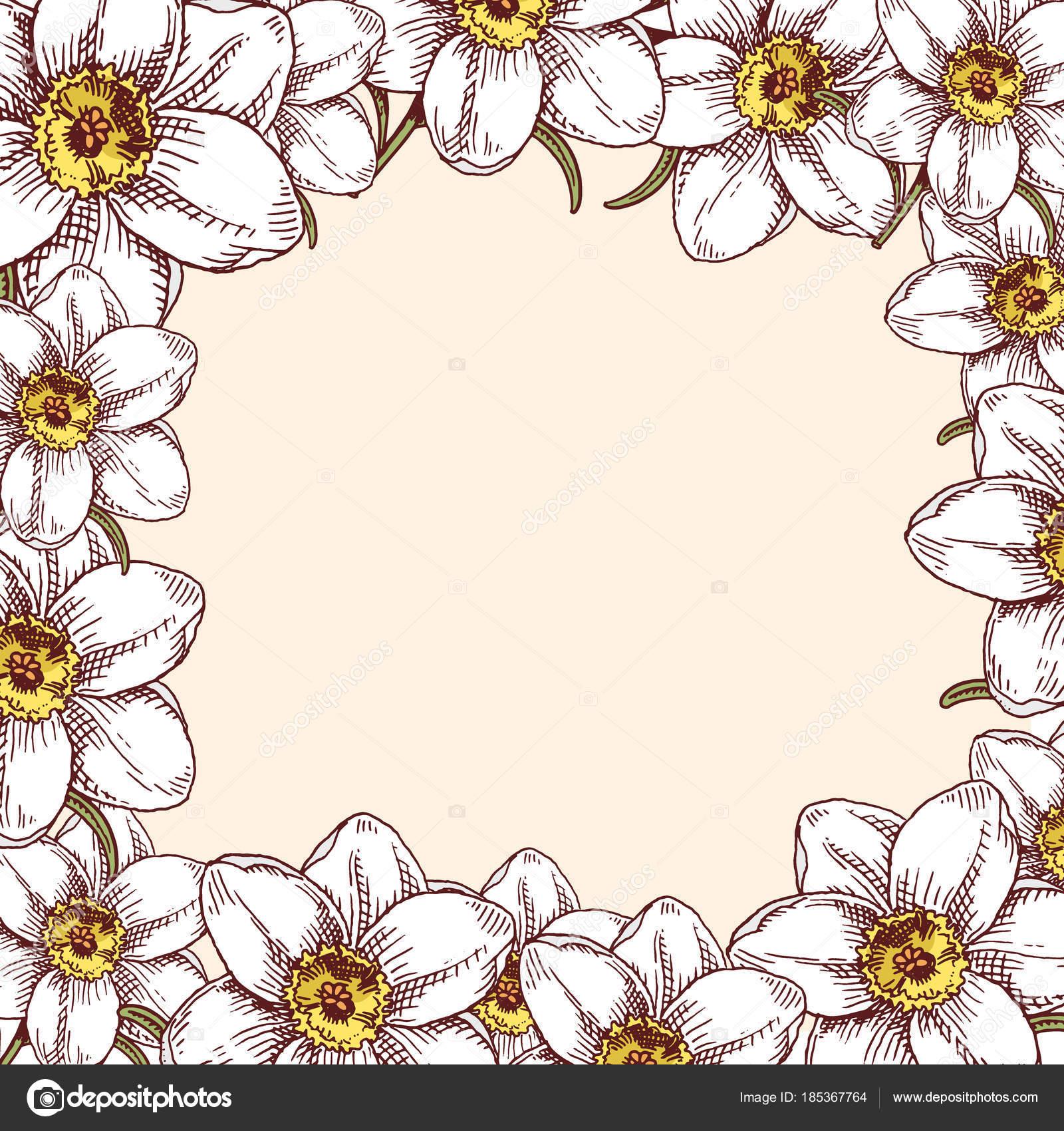 Blumenstrauss Vintage Handgezeichneten Stil Blumen Knospe Hochzeit