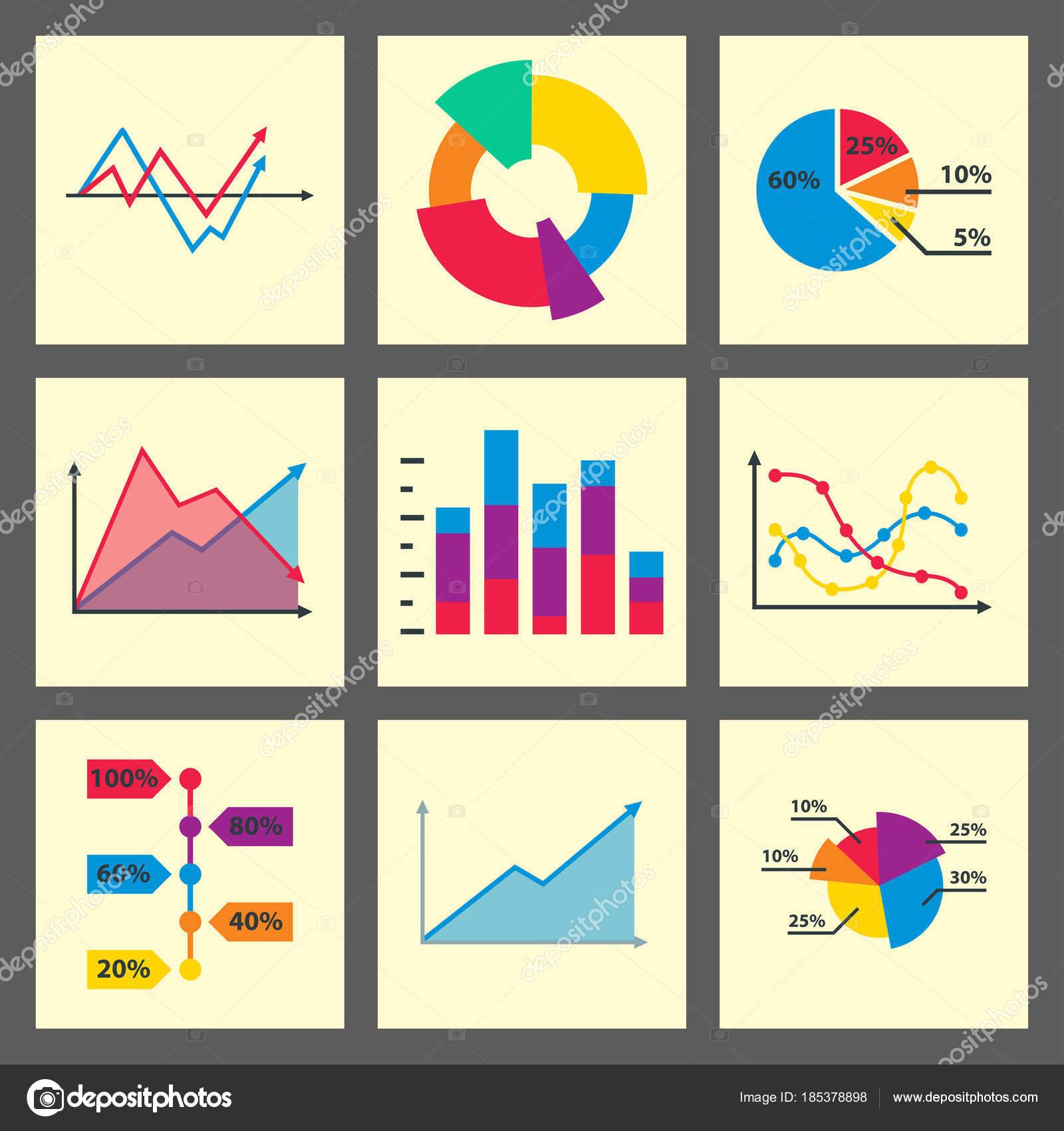 Diagrammelemente Graph Diagramm Vektor-Geschäft Infografik FlowSheet ...