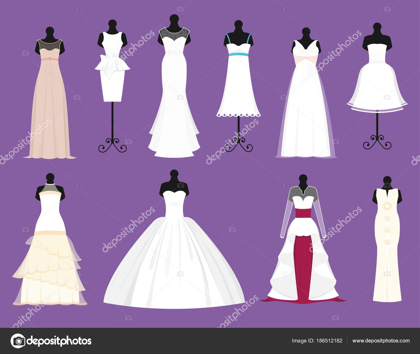 Vector de vestidos blancos de Novia de la boda situado desgaste de ...
