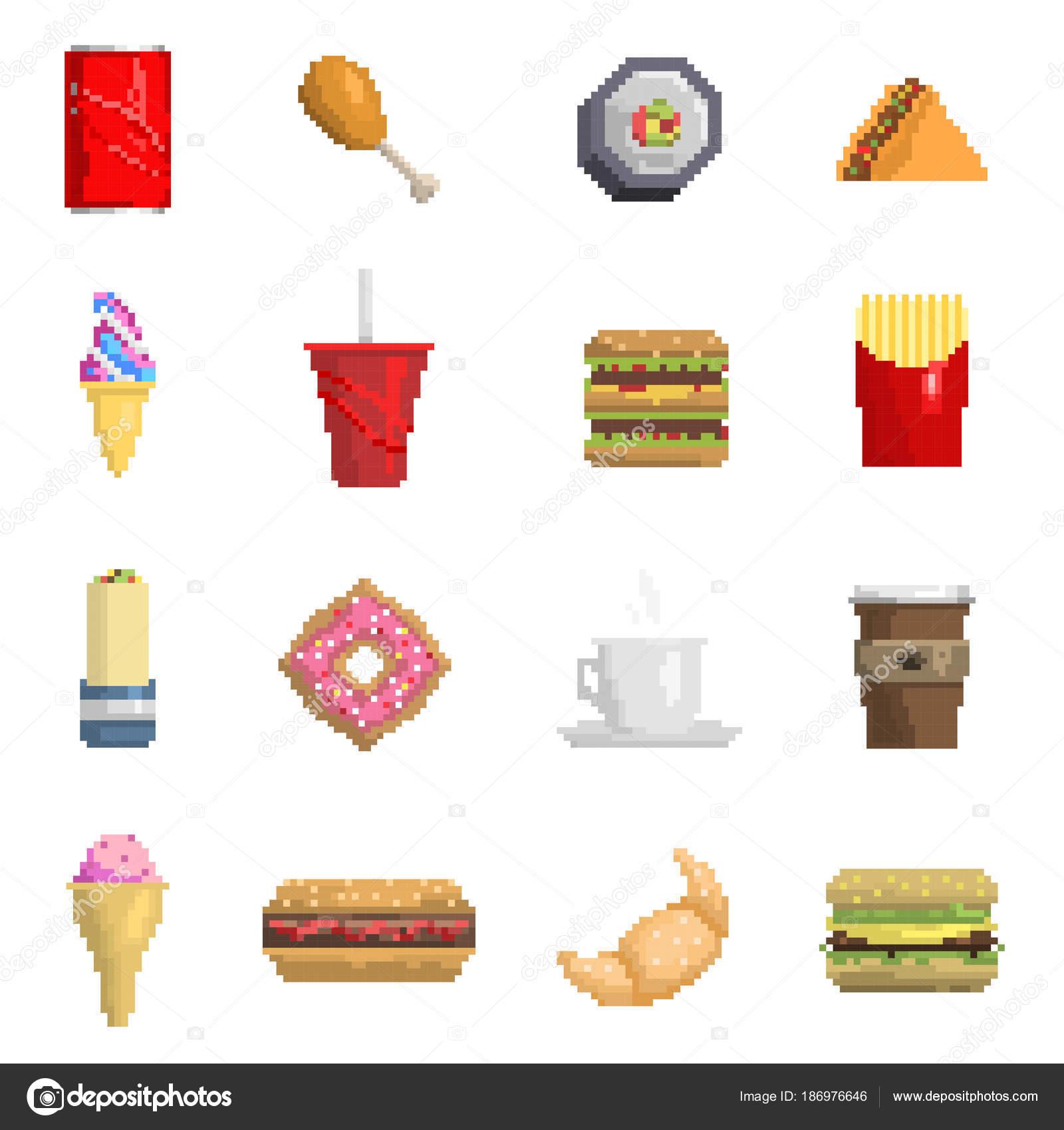 Pixel-Fast-Food-Vektor-Icons Obst süße Zeichen von Fastfood Computer ...