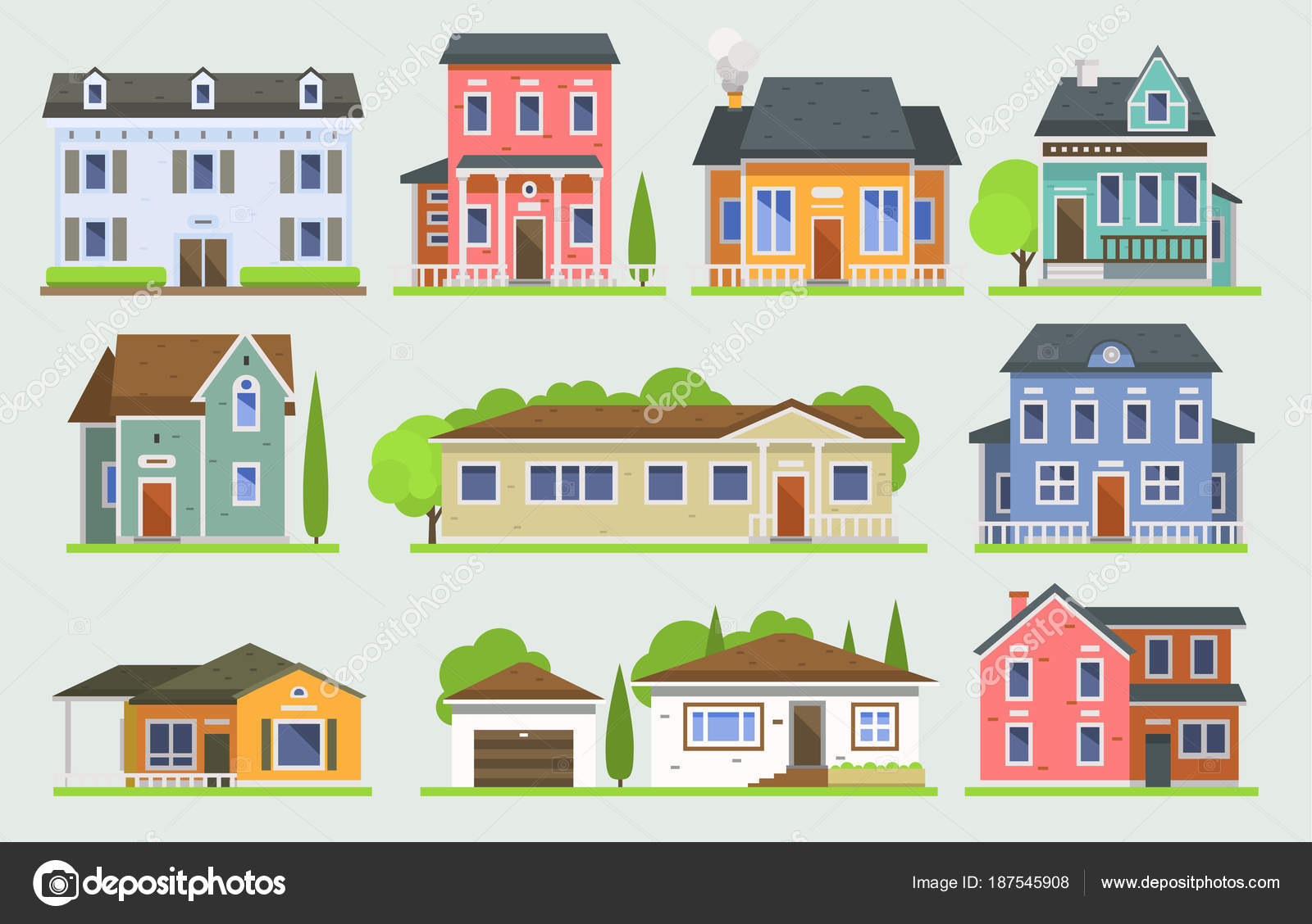 city building side. Cottage House Facede Vector City Street View Buildings Of Town Face  Side Modern World