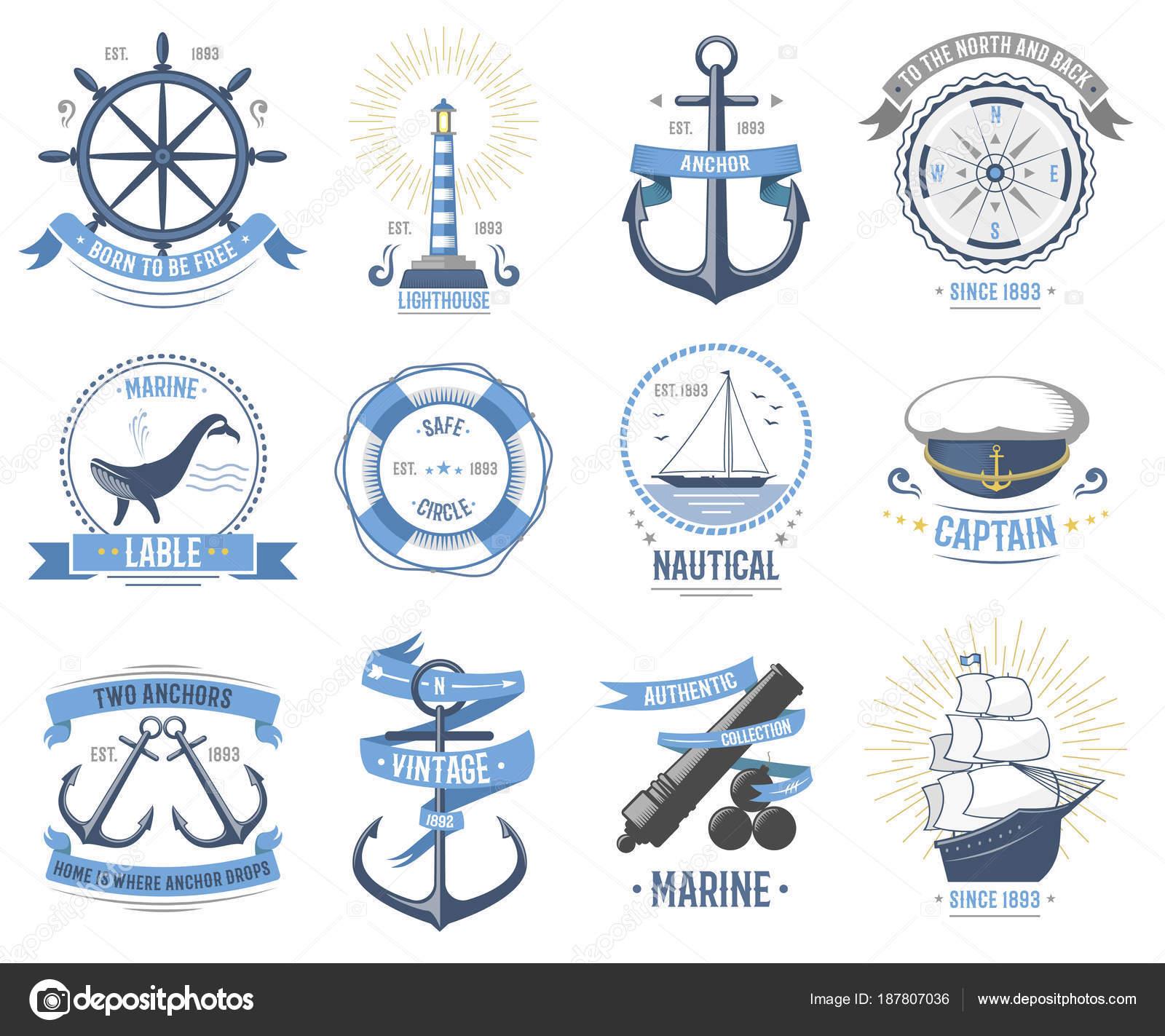 Sea Nautical Vector Old Rettro Badge Set Sailing Hat Boats Fish