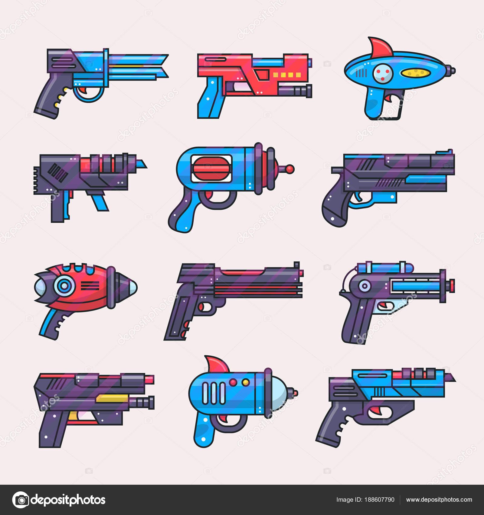 Cartone animato pistola vector giocattolo blaster per
