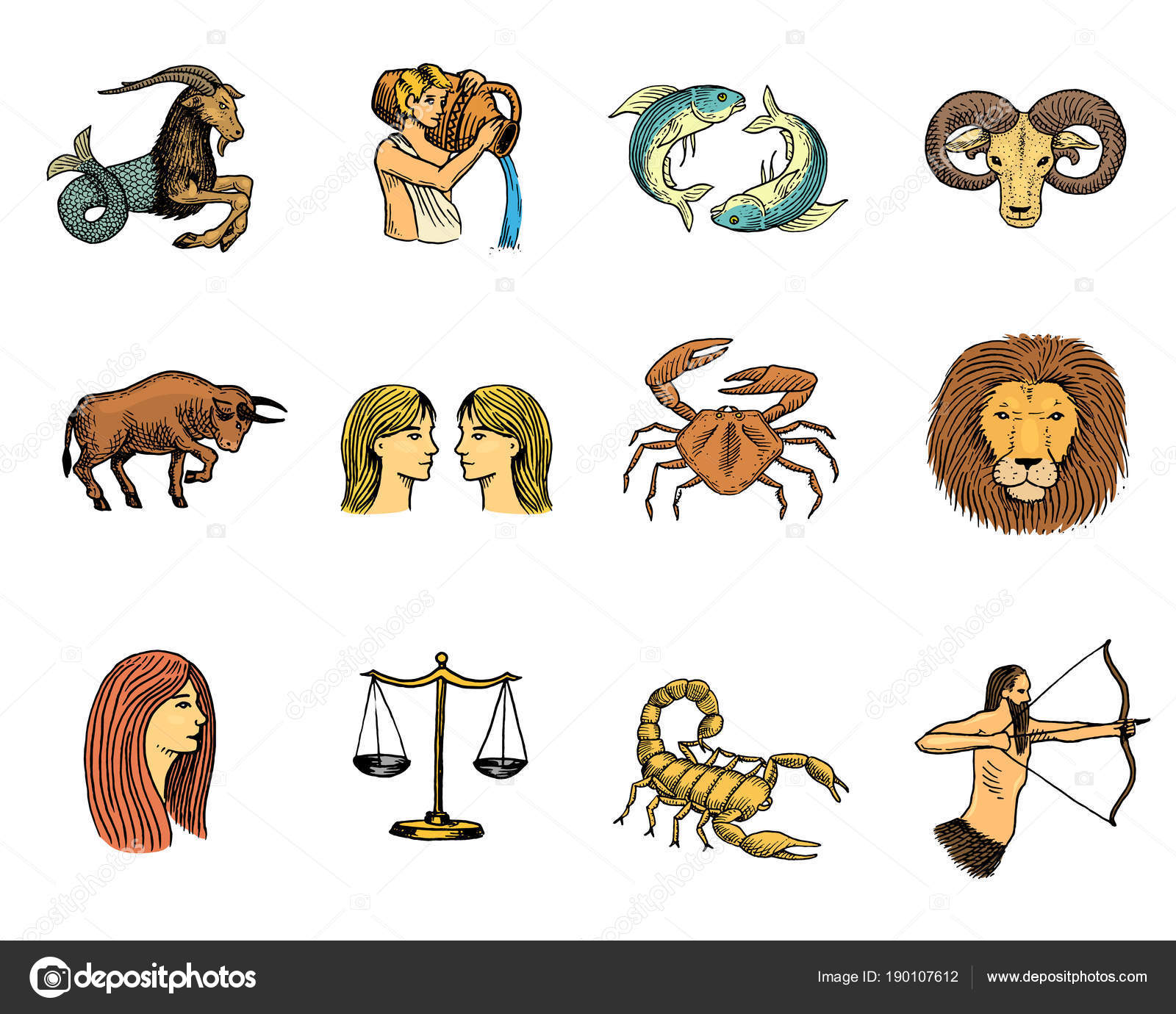 Zodiac Symbols Vector Astrology Zodiacal Signs And Astrological