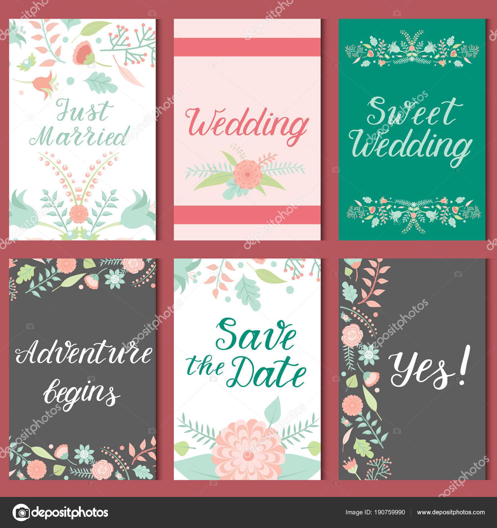 Wedding invitation card vector save the date suite with flower wedding invitation card vector save the date suite with flower templates day marriage handmade lettering print stopboris Choice Image