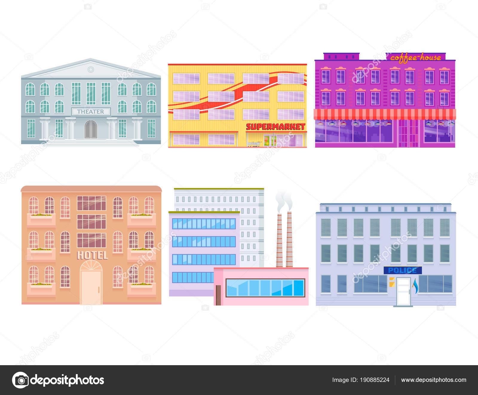 Les Bâtiments Publics De Ville Maisons Design Plat Bureau Architecture  Moderne Appartement Rue Vector Illustrationu2013 Illustration De Stock