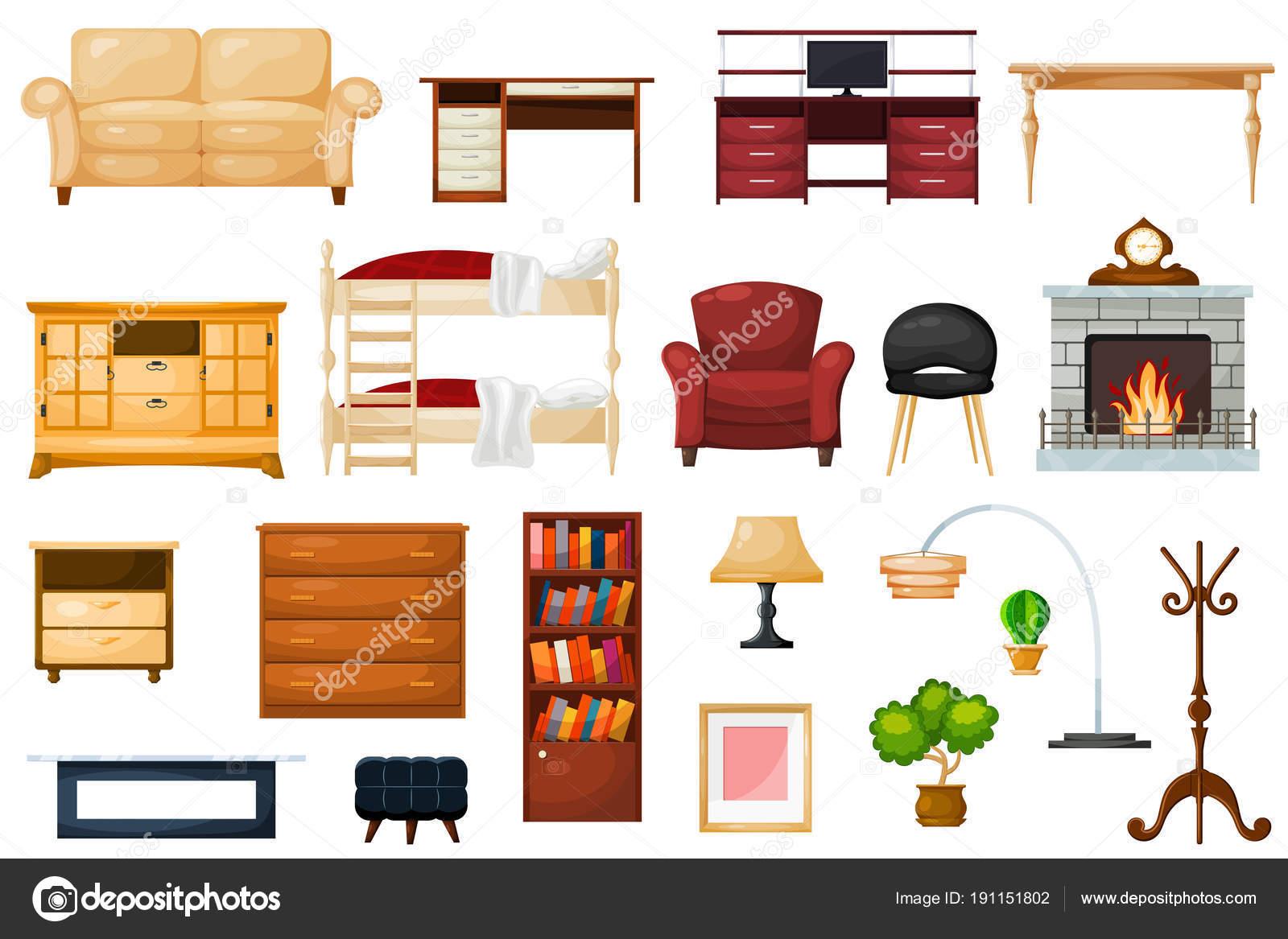 Vektor Möbel Möbeldesign Aus Wohnzimmer Und Eingerichteten Interieur In  Wohnung Satz Von Couchtisch Mit Schubladen,