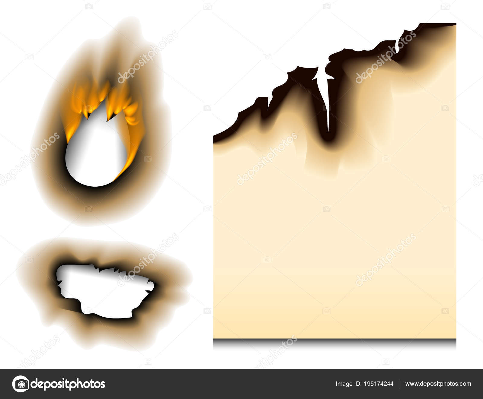 burnt piece burned faded paper hole realistic fire flame isolated