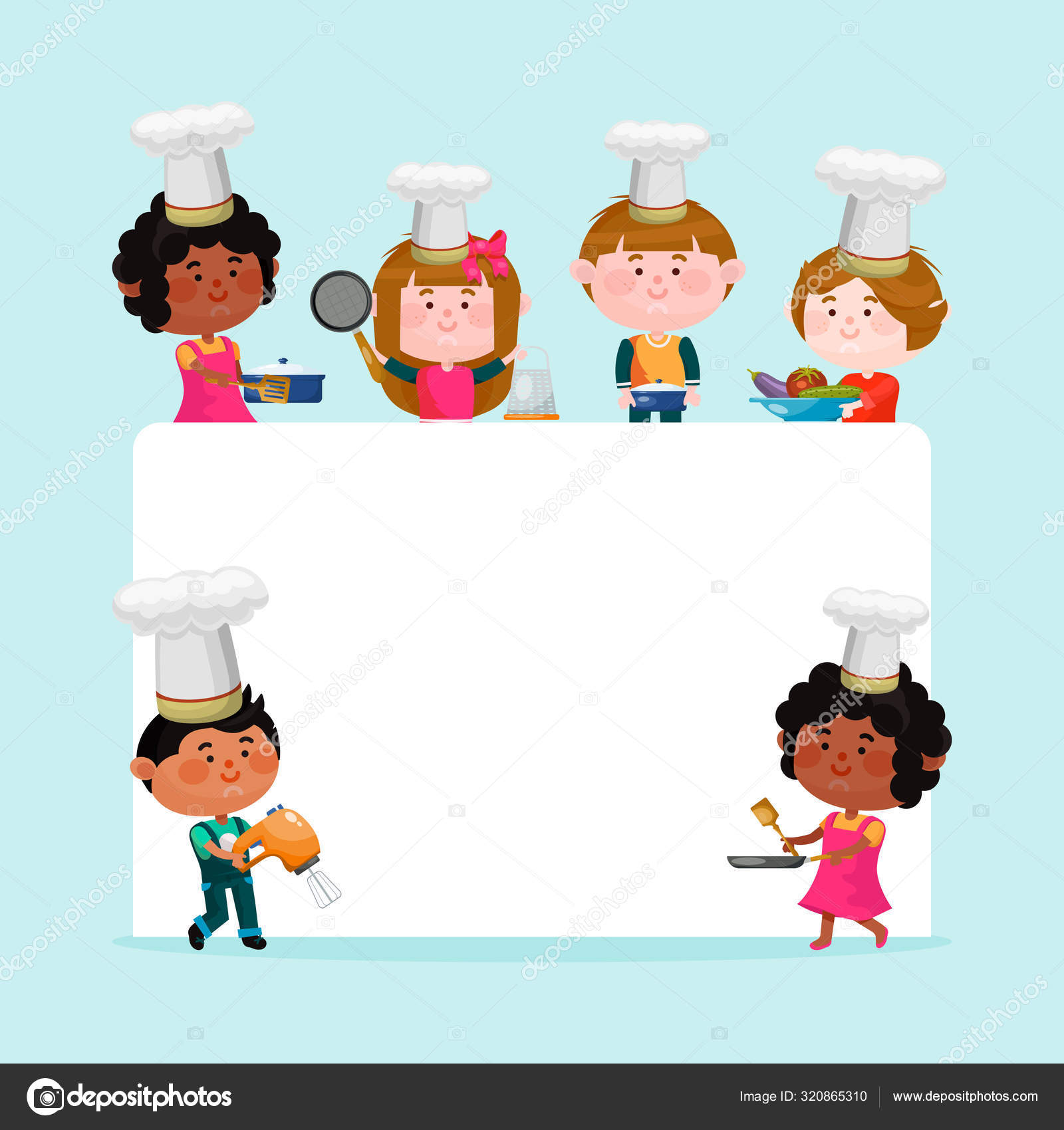 Chefs Kids Cooking Classes Template Vector Illustration Cartoon Characters Kids In Hats Around Empty List Of Paper For Text Little Chefs Background Templates For Menu Or Banner Stock Vector C Vectordreamsmachine 320865310