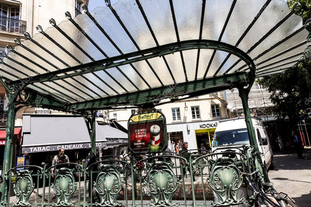 old art nouveau metro station chatelet in the area of Les Halles ...