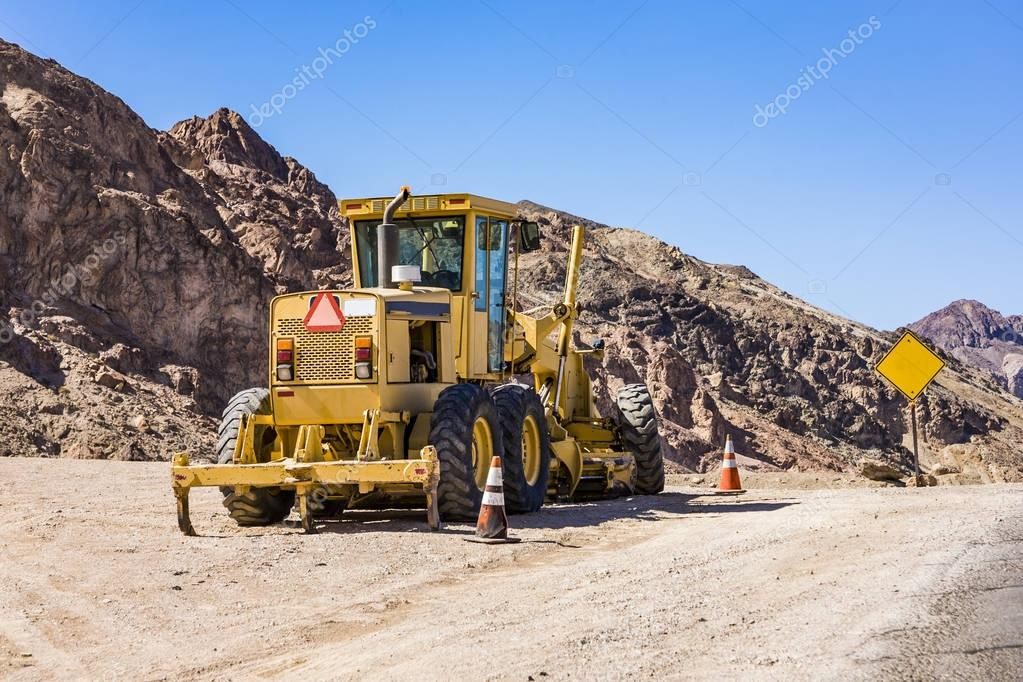 bulldozer on narrow road