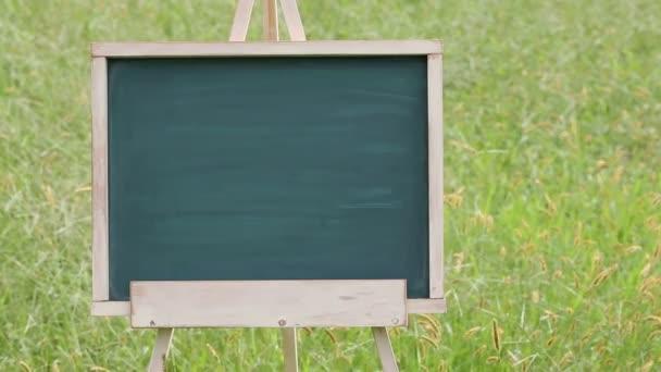 empty chalkboard with easel