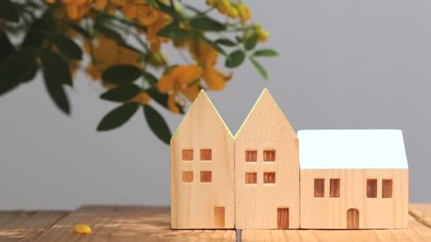 miniaturní model domu s květem