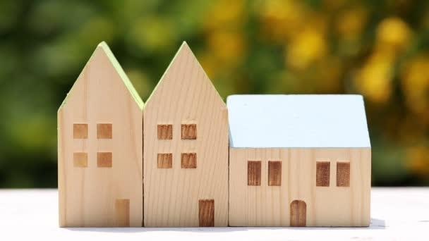 miniaturní model domu s květinou