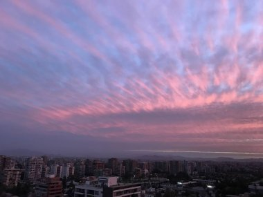sunset clouds in Santiago, Chile