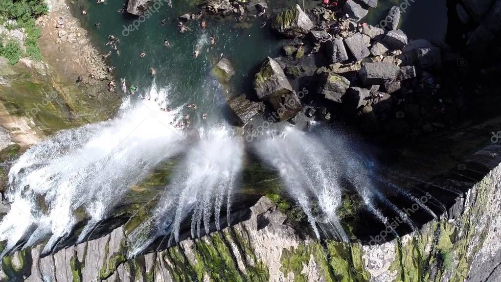 Aerial view of waterfall and rivers in Chile