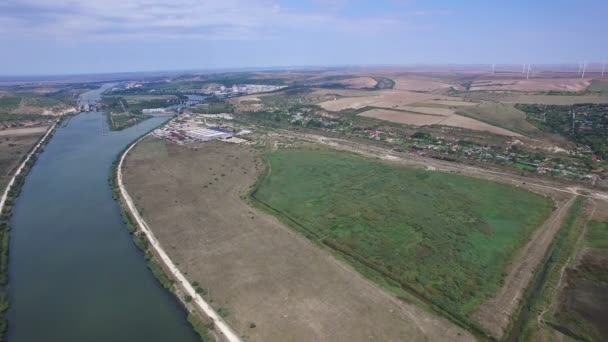 Aerial view of Danube river and windmills, Cernavoda, Romania