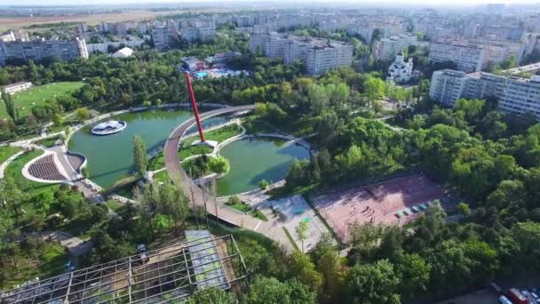 Aerial view of Moghioros park in Bucharest, Romania