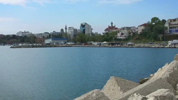 Panorama of a bay in Constanta, Romania, slow motion pan