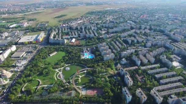 Aerial view of Bucharest city, Moghioros park, Romania