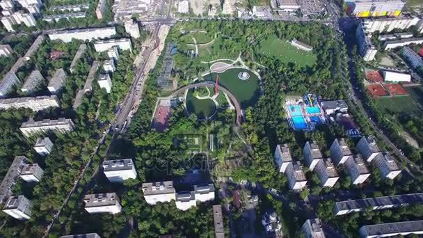 Aerial flight above Bucharest, Moghioros park, Romania