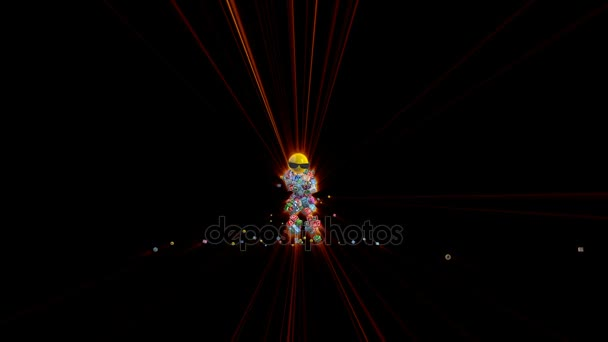 Social Network Icons Robot Dancing with red lasers, 4K