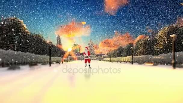 Santa Claus tančí na parku uličky, zimní svátky pozadí