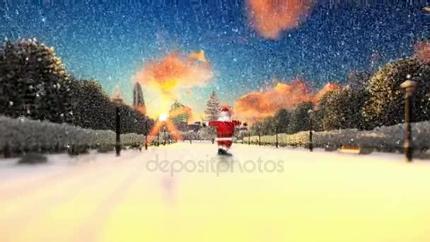 Santa Claus tanzen auf einem Park-Gasse, schneit