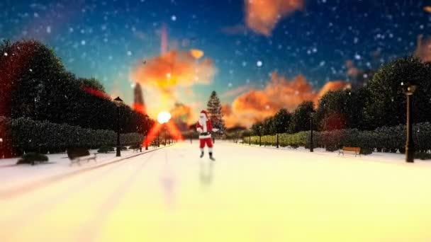 Santa Claus tanzen auf einem Park-Gasse, Urlaub-Hintergrund