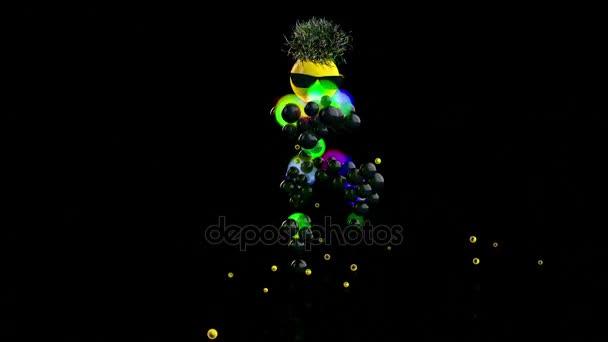 Legrační charakter tančí s Disco světla