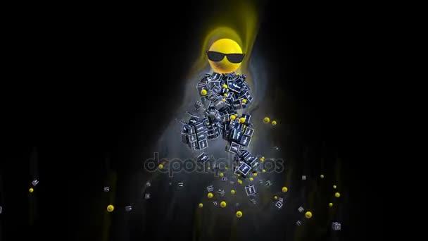 Facebook ikonu taneční postava obklopené barevnými světly, proti černé