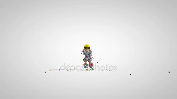 Sociální sítě ikony Robot tancem proti bílé, 4k